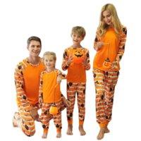 Halloween costume family outfits long sleeve pumpkin stripe print pajamas soft holiday