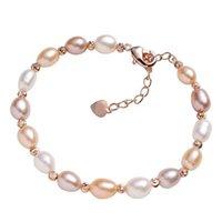 Braccialetti per perle barocche d'acqua dolce naturale Braccialetti per le donne perline gioielli Braccialetto fascino elastico