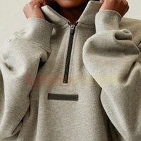 21SS Silicon Back Logo Half Zip Pullover hoodies Mens High Neck Casual Oversized Jumpers Sweatshirts Men Women Hip Hop Skateboard Streetwear hoody