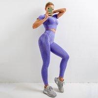 Lulu legging nokta çapraz sınır ötesi Avrupa ve Amerikan dikişsiz yoga takım elbise örme kısa kollu kalça kalça streç spor egzersiz noktası yoga