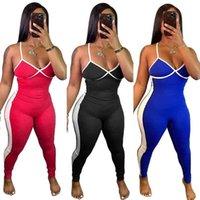 Frauen Sommer eng Jumpsuit Große Größe Frauen Waillenlose Hosen Mitte Taille Kontrast Sexy Mädchen Damen Sport Slim Bodysuit Yoga Overallsuits
