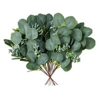 Decorative Flowers & Wreaths Fake Eucalyptus Leaves Stem Artificial Greenery Branches 10Pcs Silk Garland For Farmhouse Wedding Party Decor