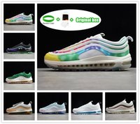 [Kutu ile] BRED 97 97S Sean Wotherspoon Koşu Ayakkabıları Dünya Çapında Üçlü Siyah Beyaz Krave Boya Cadılar Bayramı Bayan Erkek Eğitmenler Açık Spor Sneakers 36-45