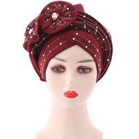 Abbigliamento etnico Turbani africani Donne Auto Gele Auto Stick Stick Diamond Flower 2021 Moda Bazin Riche Dashiki Headtie Headwrap Hijab