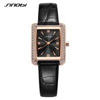 Mode Leder Sinobi Frauen Uhren Luxus Original Design Rechteck Zifferblatt Woman Quarz Armbanduhr Damen Diamant Uhr Relogio Armbanduhren