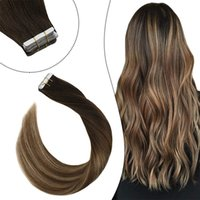Straight Tape In Human Hair Extensions Ombre Highlight Color PU Brazilian Remy Hair Extensions 14-14 inch