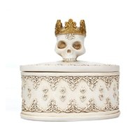 Packaging Decor Container Resin Earrings Jewelry Box Organizer Ring Halloween Gifts Crowned Skull Desktop Mini Storage Necklace Pouches, Bag