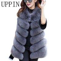 Uppin hiver chaud gilet neuf d'arrivée mode femme importation manteau gilet de fourrure de fourrure de fourrure de haute qualité fourrure Fourrure longue gilet plus Taille S-3XL Y0909
