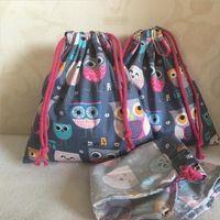 Yile algodão sarja tecido feito artesanal cosmético bolsa cordão multi propósito saco festa de festa de bagaço corujas cinza base n630d