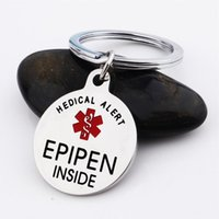 Chaveiros Epipen Tag, saco Tag - Zipper Puxar Totalmente Aço Inoxidável Alerta de Alerta Símbolo Keyring
