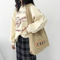 Женщины ягненка, как ткань сумка сумки на плечо Сумки сырные вышивка мягкие плюшевые холст женские большие пушистые покупки книга сумка крест