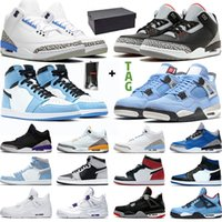 Баскетбольная обувь Мужчины Женщины 4s 1s University Синий Черный Цемент UNC Taupe Haze High OG 1 Мужские женские кроссовки Кроссовки Спорт