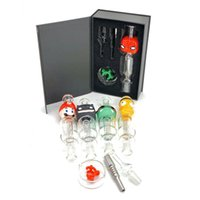 OMG Micro NC Dab Rig Glass Pipe 14mm 10mm Smoking Bongs Collector Straw Cartoon Style Colorful Dabber Portable with Black Box