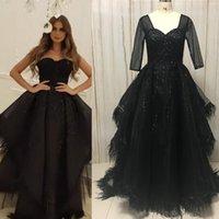 Partykleider echtes Prom Arabisch Perlen Sweetheart Halsausschnitt Ruffle Black Evening Feather Gowns 2021 Tatsächlich