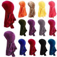 유니섹스 남성 여성 통기성 밴드나 모자 벨벳 Durag Do Do du Rag Long Tail Headwrap Chemo Cap Solid Color Velvet Bandanas Hat