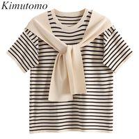 Women's T-Shirt Kimutomo Striped Fake Two Piece Shawl Women 2021 Summer Short Sleeve O-neck Loose Bandage Top Knitwear Korean Chic