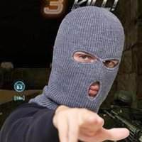 Cycling Caps & Masks Hood Balaclava Knitted Hat Men's Unisex Three Hole Head Robber Bandit Anti-Terrorism Ski Tactical Military