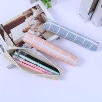 Big Plaid Pencil Pen Case Leather Zipper Pen Bag Mini Multifunctional Stationery Bag Storage Pouch 1221725