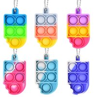 Mini Fidget Toys Anti Stress Relief Keychain Push Bubble Silicone Anxiety Sensory For Autism Adhd Chidlren