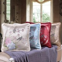 Jacquard Europe Style Luxury Classical 19x19 Inch 48x48 Cm Home El Decorative Back Cushion Cover Sofa Throw Hold Pillow Case Cushion Decorat