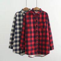 quality women plaid shirt thick fleece long sleeve blusas womens casual loose tops camisa feminina plus size 3xl,4xl,5xl,6xl ZHL5899