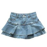 Summer Low Waist A Line Denim Skirt Women Sexy Pleated Mini Jeans Skirts Korean Style Casual Faldas Mujer 210611
