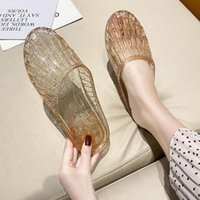 Slippers 2021 Summer Crystal Soft Bottom Non-slip Women's Indoor And Outdoor Hollow Casual Sandals Flat Beach Shoes