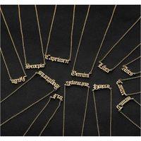 En acier inoxydable Constellation Personnalisé Lettre personnalisée Zodiac Steel Old Anglais Collier Anniversaire bijouxJJTG