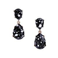 Brincos de soltação de água de resina preta para mulheres moda branco manchado brincos de suspensão de jóias