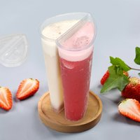 600ML Heart Shaped Double Share Cup Transparent Plastic Disposable Cups with Lids Milk Tea Juice Cups for Lover Couple DH9486
