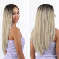 Synthetic Wigs Omber Blonde 613 Bob With Dark Roots Short Hair Lace Front Daily Use Transparent Frontal For Women