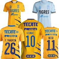 Mexico Tigres Uanl Gignac رجل كرة القدم جيرسي المنزل الأصفر بعيدا الضوء الأزرق حارس المرمى العالم النادي كأس العالم Rodriguez لوبيز جوزمان كرة القدم القمصان 21 22