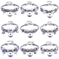 Charm Bracelets Classic 18MM Snap Bracelet Trendy White Crystal Women's Fashion Jewelry Party Gift Brand Accessories