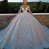 Vintage Ball Gown Off the Shoulder Wedding Dress Lace Sequins V Neck Long Sleeve Bridal Gowns Luxurious vestido de novia