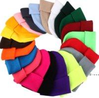 Solid Unisex Beanie Autumn Winter Wool Blends Soft Warm Knitted Cap Men Women SkullCap Hats Caps 23 Colors Beanies EWA9478
