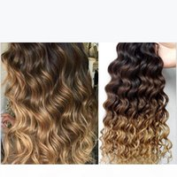 Drei Ton 1b 4 27 Braune blonde Ombre Deep Wavy Wellenförmige menschliche Haarverlängerungen 3pcs Lot Honig Blondine Ombre Deew Courly Hair Bündel
