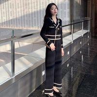 محبوك قطعتين مجموعة النساء المرقعة طويلة الأكمام أعلى + ارتفاع الخصر الكاحل طول السراويل الساق واسعة مكتب سيدة الكورية 2021 المرأة