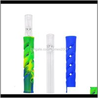 Household Sundries Home & Gardensile Glass Pipes Straight Bar Hollowing Out Pattern Smoke Smoking Pipe Colorful Portable Aessories Cigarette