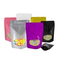 8.5*13cm resealable zip lock plastic bag stand up pouch with window small candy storage package bags retail