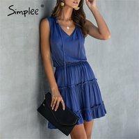 Simplee Kolsuz Boho Katı Dantelli Yüksek Bel V Boyun Yaz Rahat Ruffled Pamuk Chic Artı Boyutu Elbise 210329