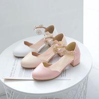 Dress Shoes YQBTDL Sweet Party Wedding Women High Heel White Pink Flower Buckle Mary Jane Chunky Heels Ladies Pumps Summer 2021