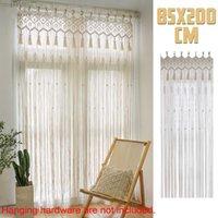 Bohemian Handmade Macrame Curtain Bohemian Wedding Backdrop 200x85cm Cotton Rope Po Backdrop Macrame Wall Hanging Tapestry 210609