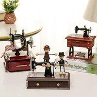 Caja de música mini retro costura relojería música caja de madera decoración casera artesanía cumpleaños para regalos de novia regalo de Navidad 210319