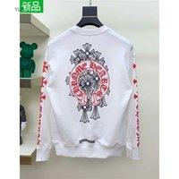 Lumière de luxe Marque Crosin Version correcte Fashion Marque Imprimé Coloré Horseshoe Cross Pull Sanskrit T-shirt à manches longues Hommes