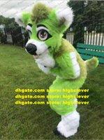Yeşil Uzun Kürk Kürklü Kurt Husky Köpek Fox Fursuit Maskot Kostüm Yetişkin Karikatür Karakter Sevimli Sevimli Şirket Etkinliği ZX3009