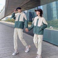 Çift aşınma sonbahar yeni colorblock Hood ceket ceket iş giysisi rüzgarlık gelgit bf spor toplantı öğrenci sınıf giyim takım elbise