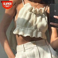 Y2K Knit Sin mangas Cultivo Top Mujeres White Ruched Backless 2021 Verano Off Hombro Vendaje Sexy Tank Tops Tops Vendaje # JR84