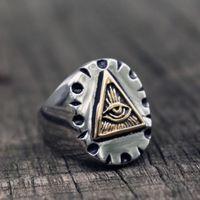 Masonic Triangle Illuminati Biker Rings Mens Mexican Vintage Punk Stainless Steel Ring Freemason Jewelry Gifts Cluster