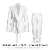 Women's Tracksuits White Blazers Suit Female Korean Style 2021 Autumn Fashion Design Wide Leg Pants Two-Piece Two Peice Set