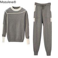 Два куска платье Mozuleva 2021 пружина плюс размер 2 штуки набор женщин пуловеры свитер вязание вязать джампер топы брюки костюмы с длинным рукавом